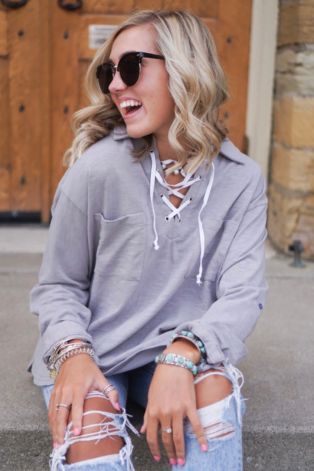 Lace Up Collared Top