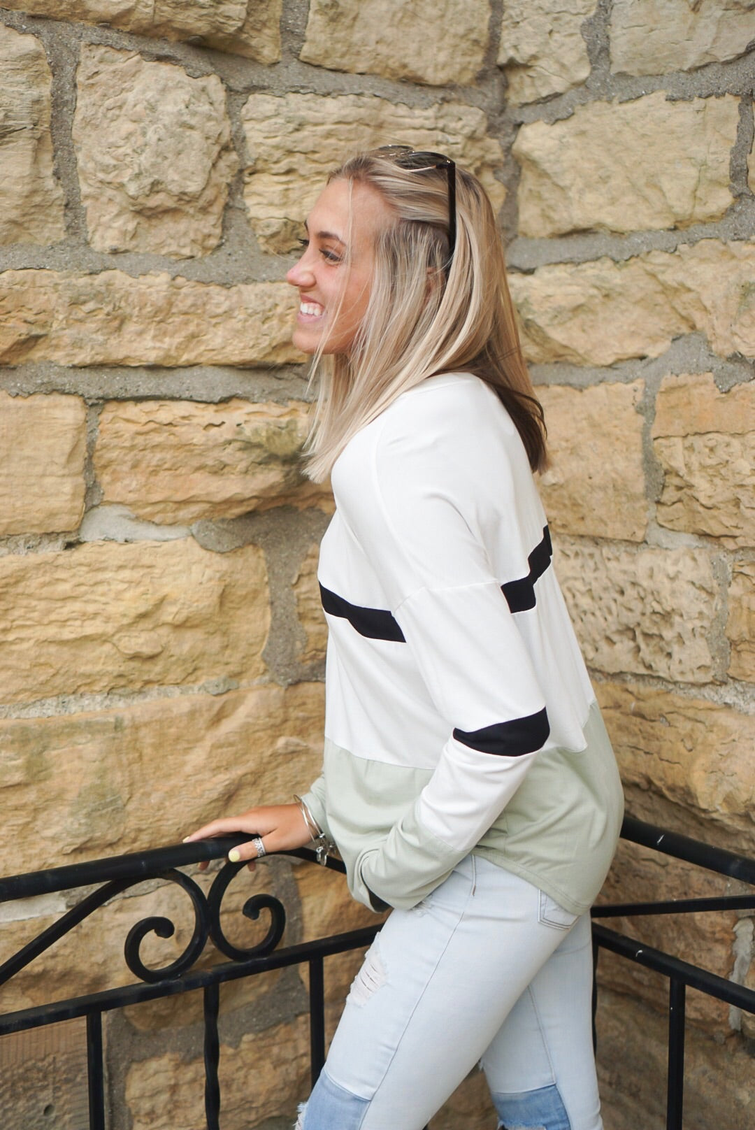Ivory Color Block Jersey Top