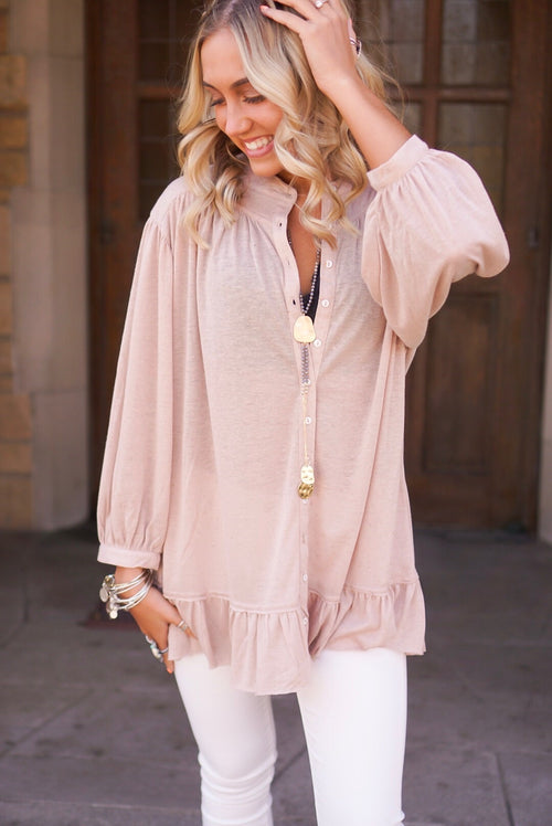 Dusty Rose Ruffle Button Up Top