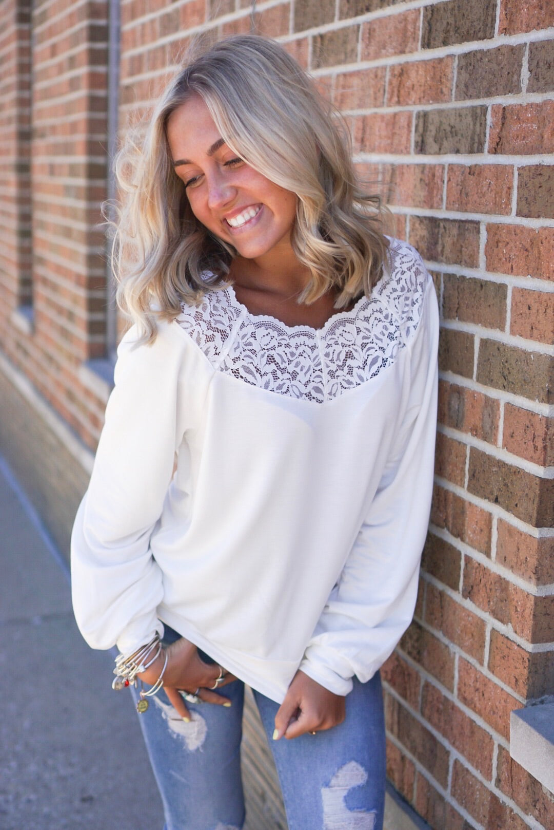 Ivory Lace Trim Top