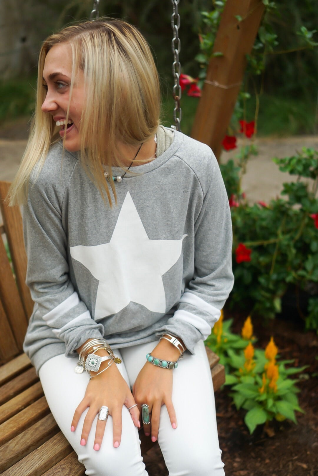 Grey Star Crew Neck Top
