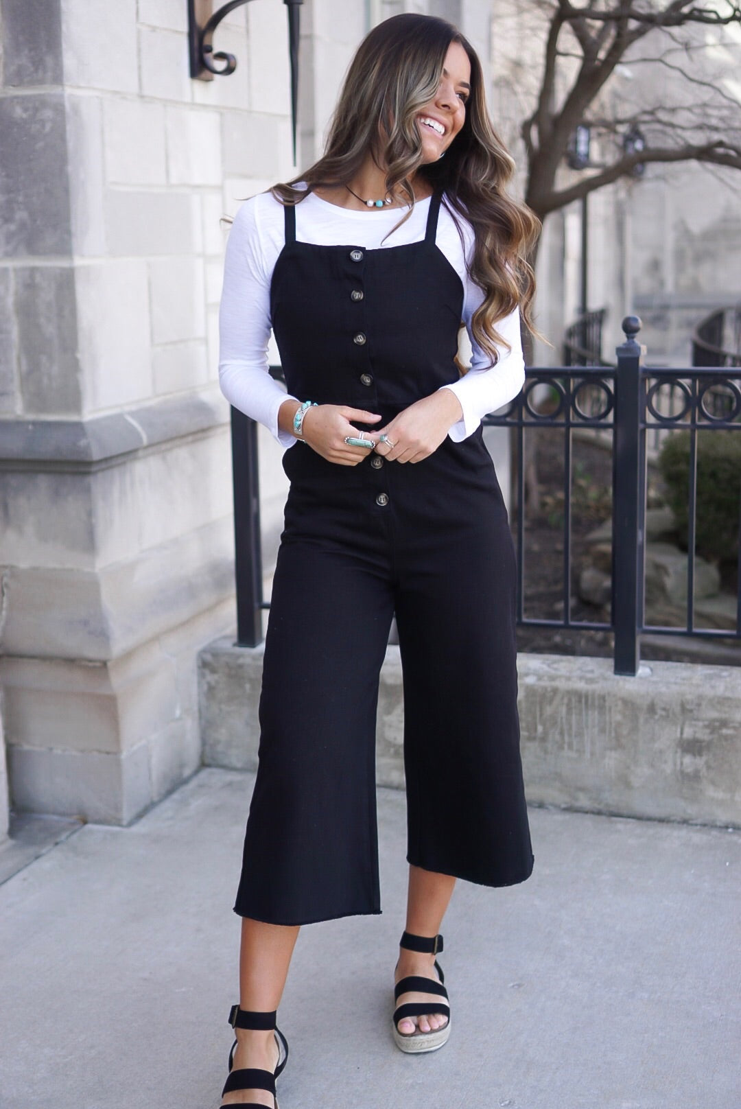 Black Denim Button Up Jumper