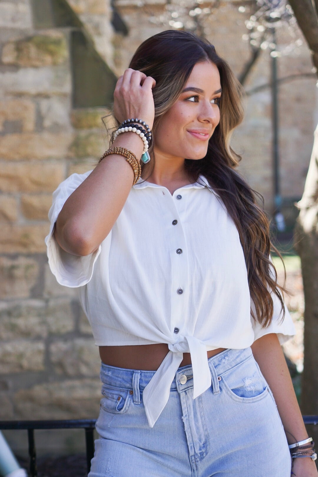 Ivory Cropped Tie Top