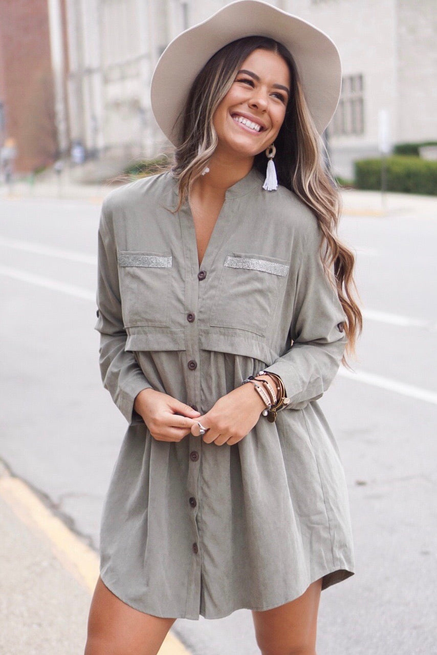 Olive Textured Button Down Dress