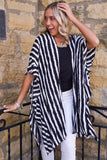 Black and Ivory Striped Kimono