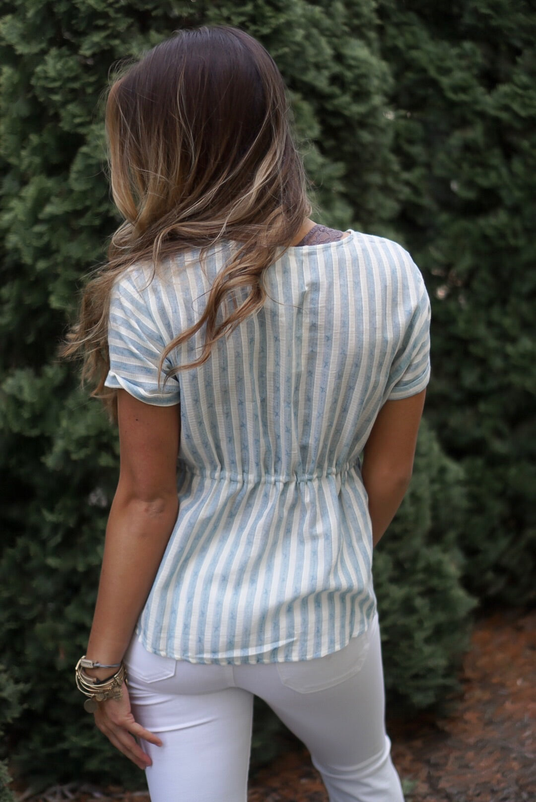 Blue Striped Tie Waist Top