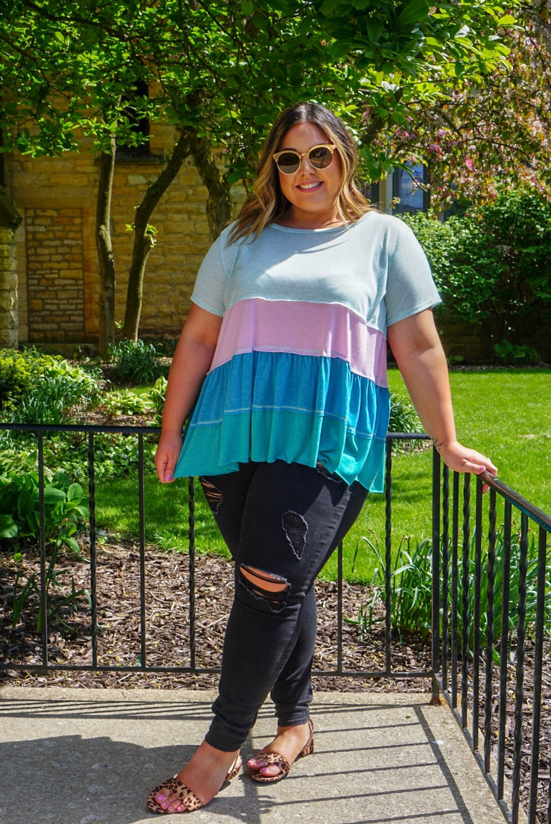 Curvy Mint Striped Top