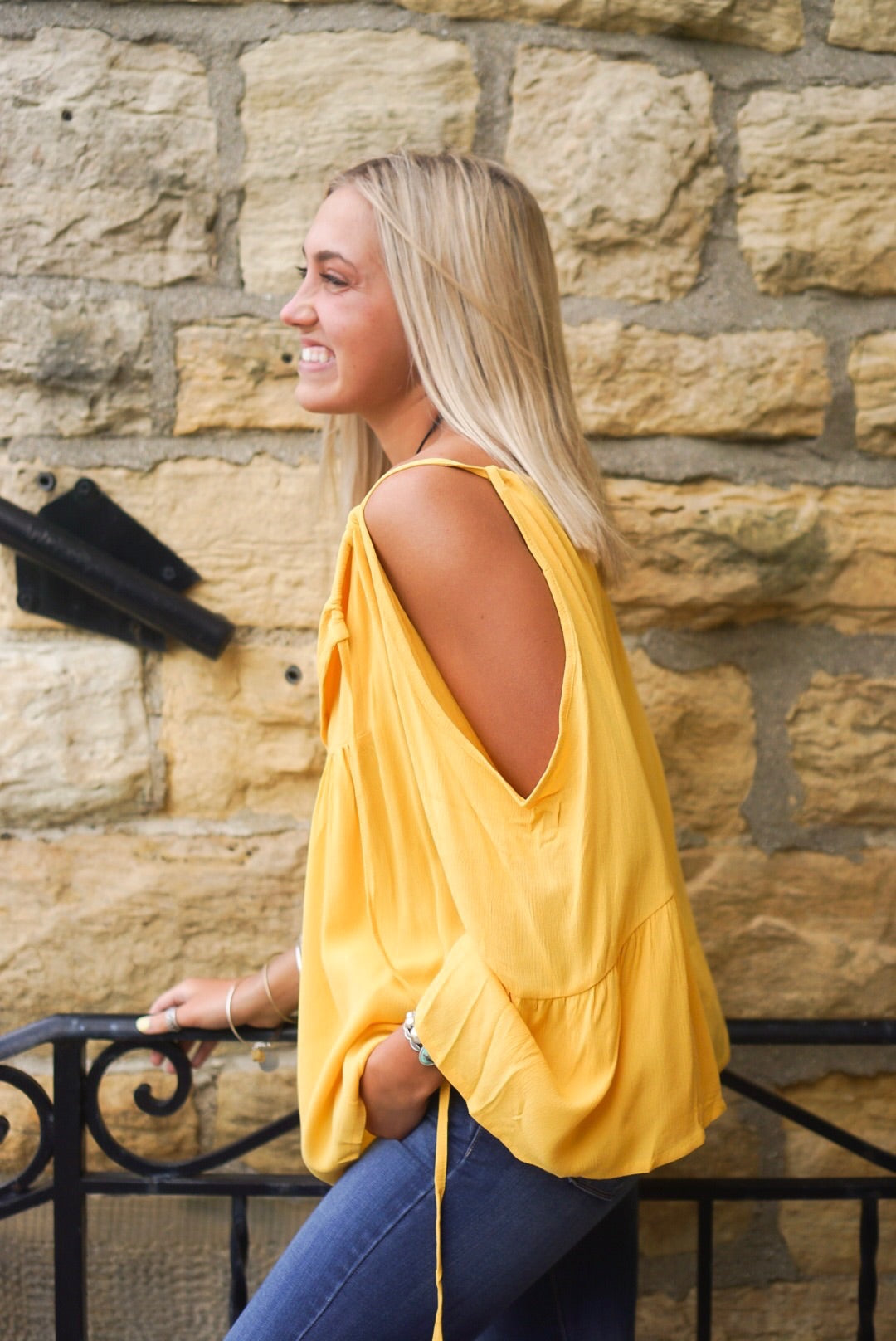 Mustard Off The Shoulder Top