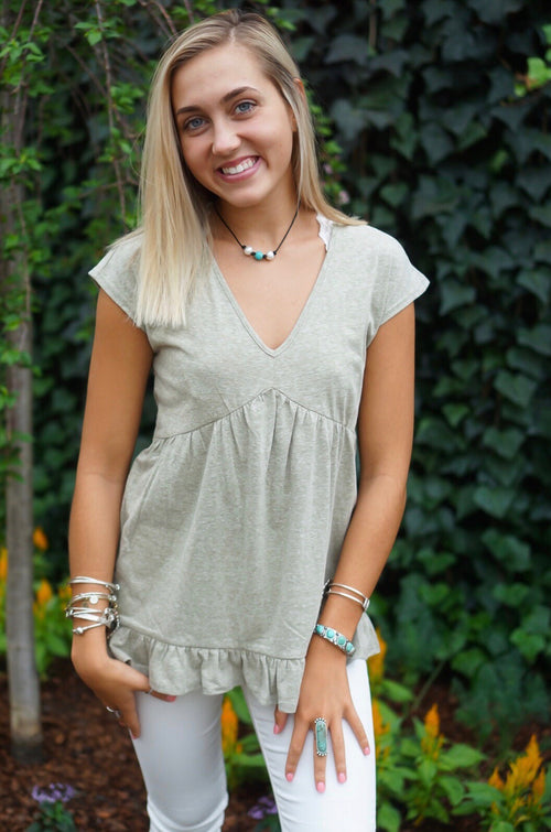 Olive Ruffle Babydoll Top