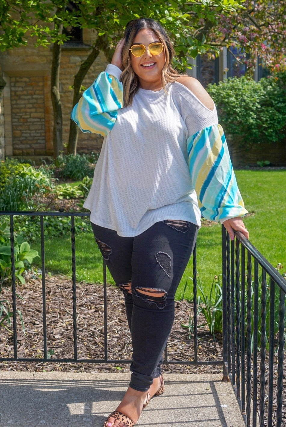 Curvy Ivory Cold Shoulder Top