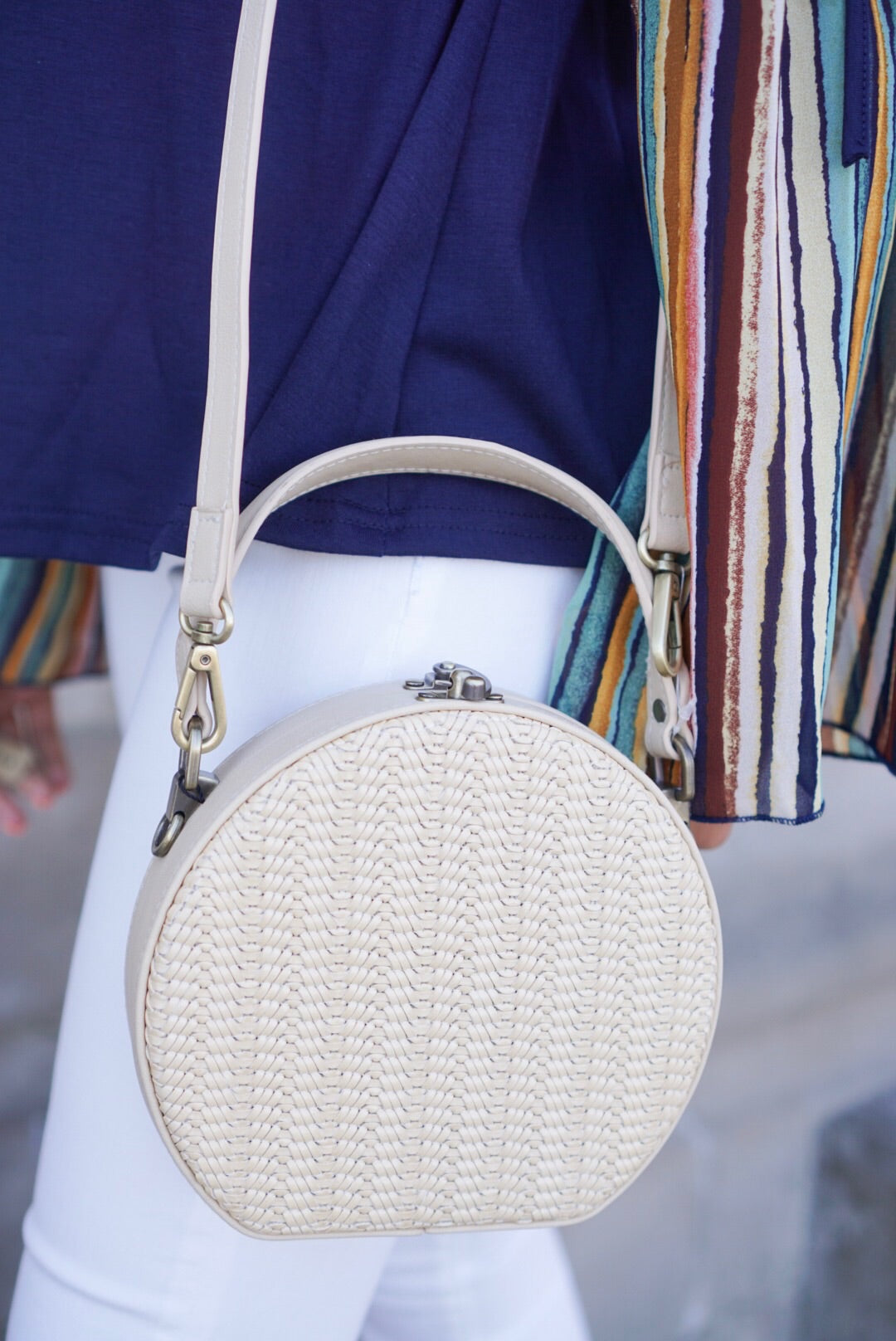 Ivory Woven Round Crossbody Bag