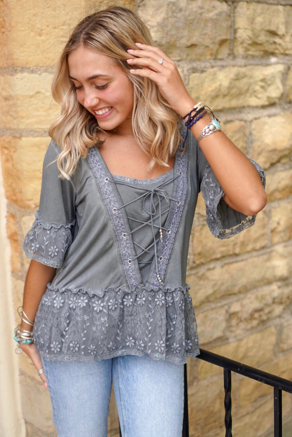 Charcoal Lace Up Top