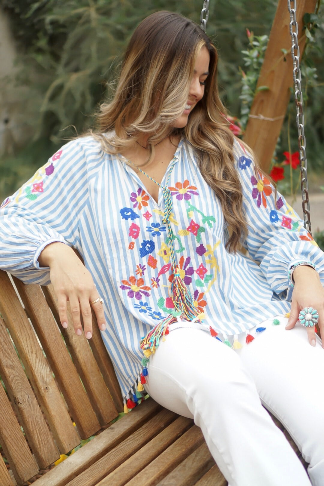 Blue Striped Embroidery Top