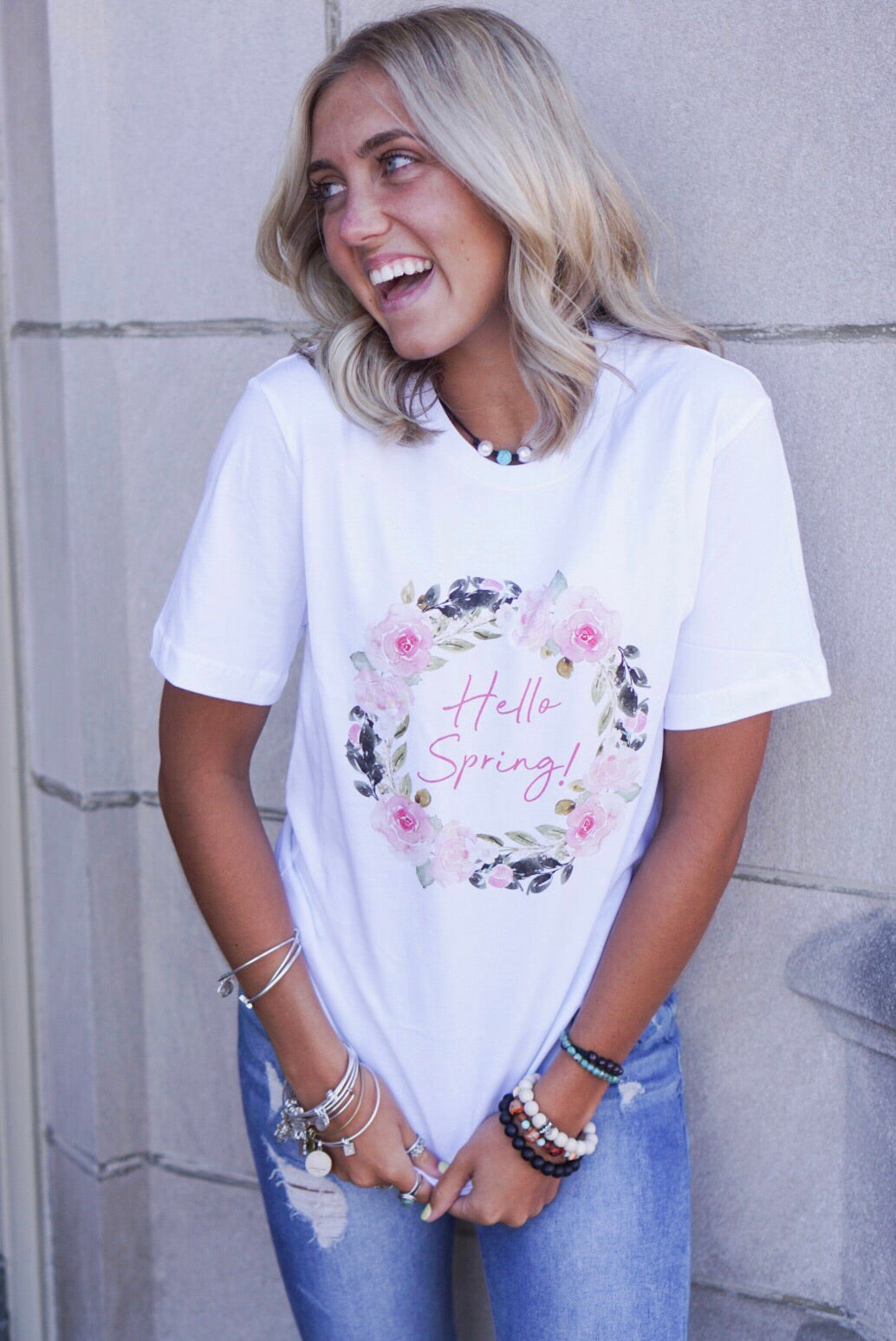 White Hello Spring Graphic Tee