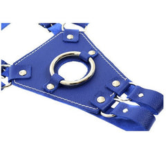 Blue Leather Strap-On Harness