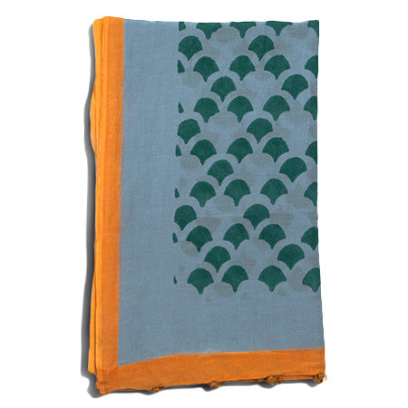 Kamal Moss Silk Cotton Handprinted Scarf