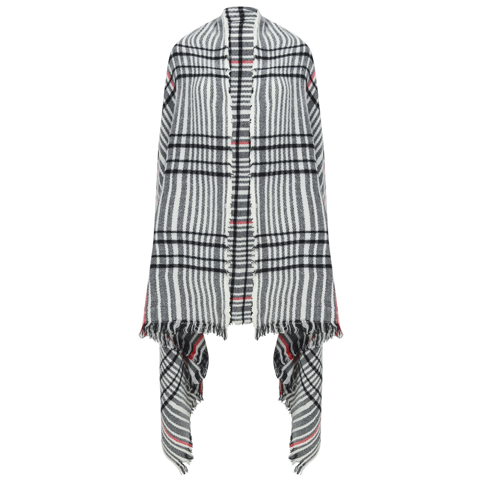 East Village Alabama Scarf - grey with black & red line check