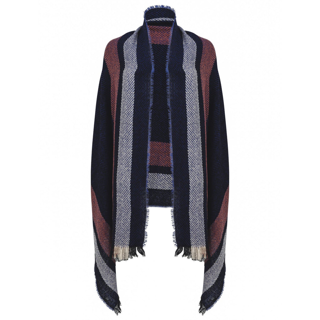 East Village New York Scarf - Navy with pink