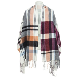 Valencia Scarf - grey, black, camel, burgundy check