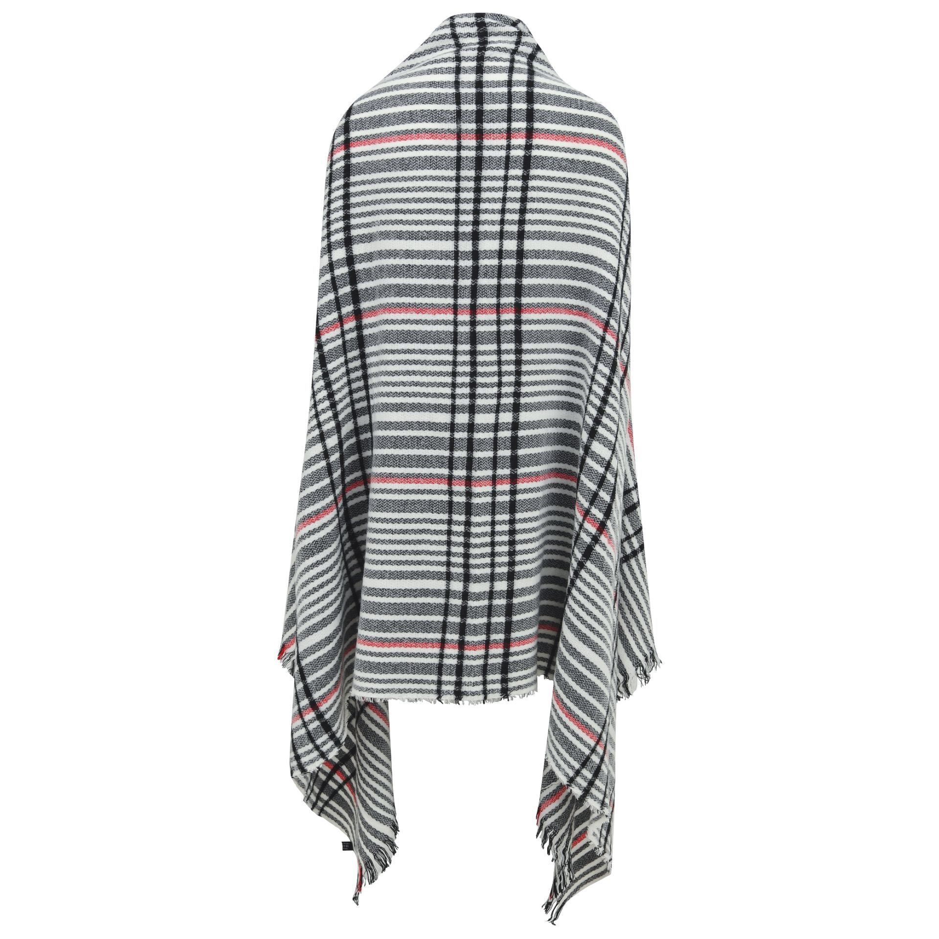 Alabama Scarf - grey with black & red line check