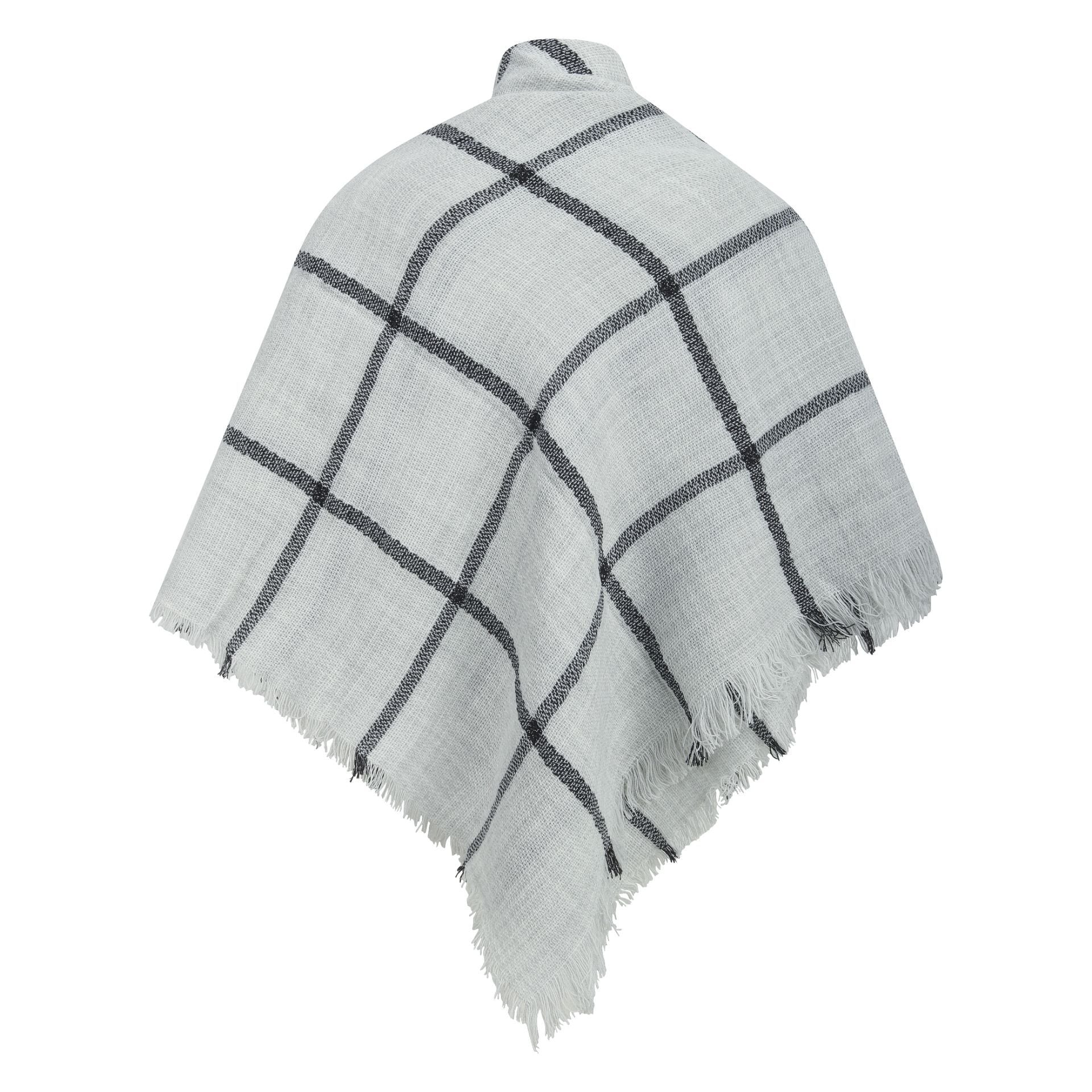 East Village Denia Scarf - grey with black line check