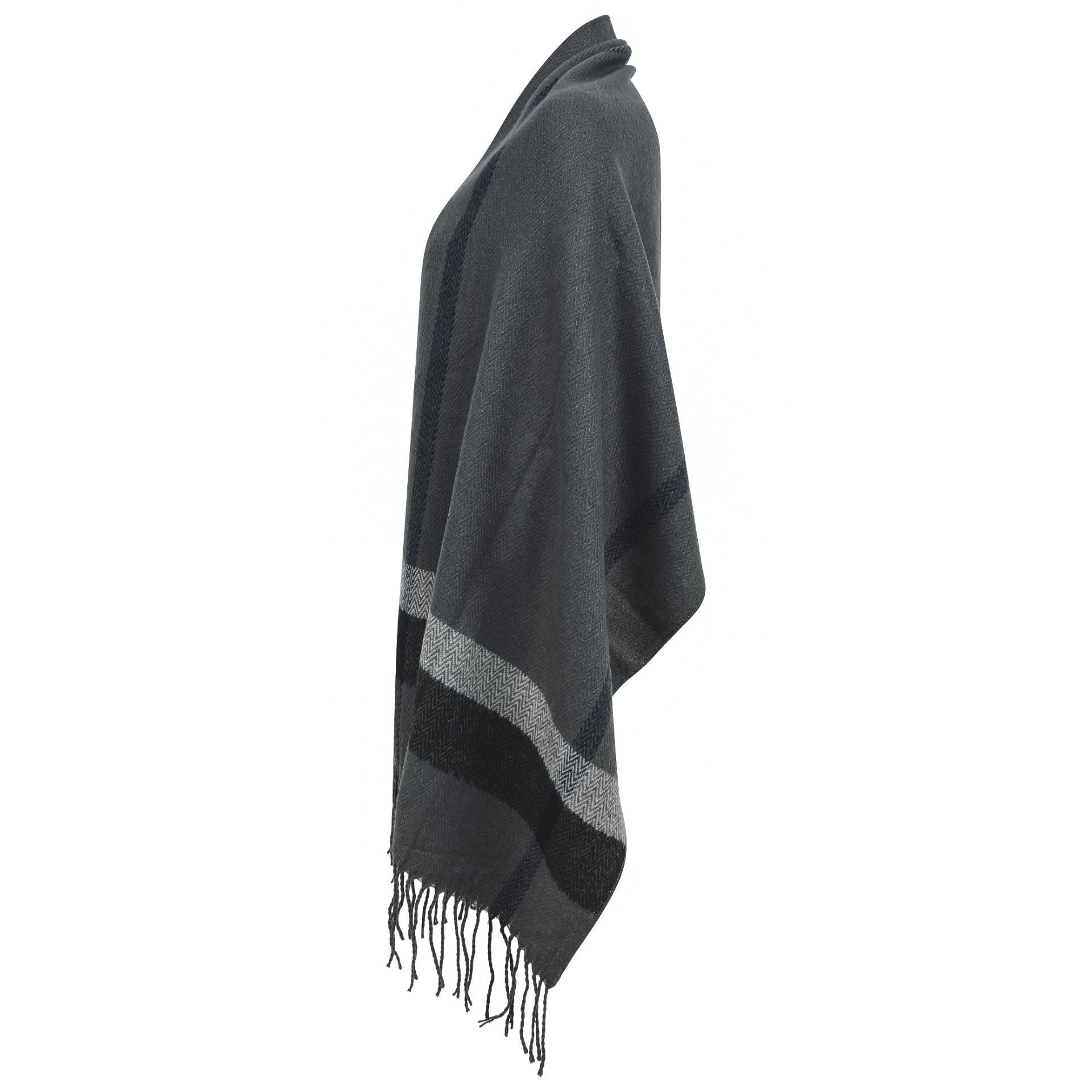 Logan Scarf - grey with black & grey border line