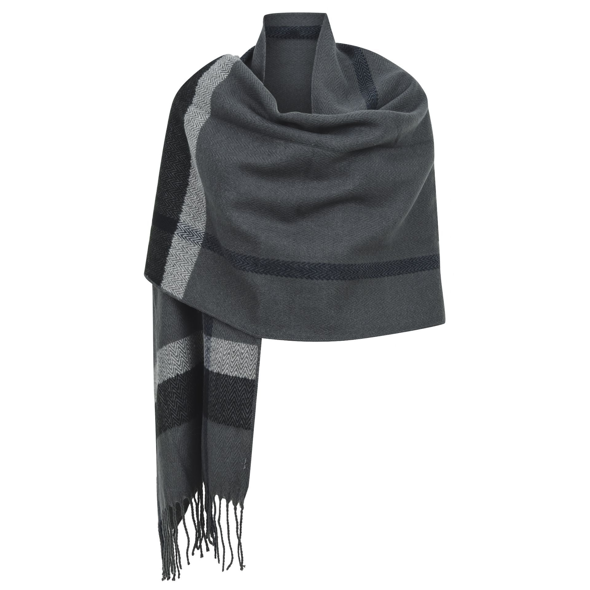East Village Logan Scarf - grey with black & grey border line