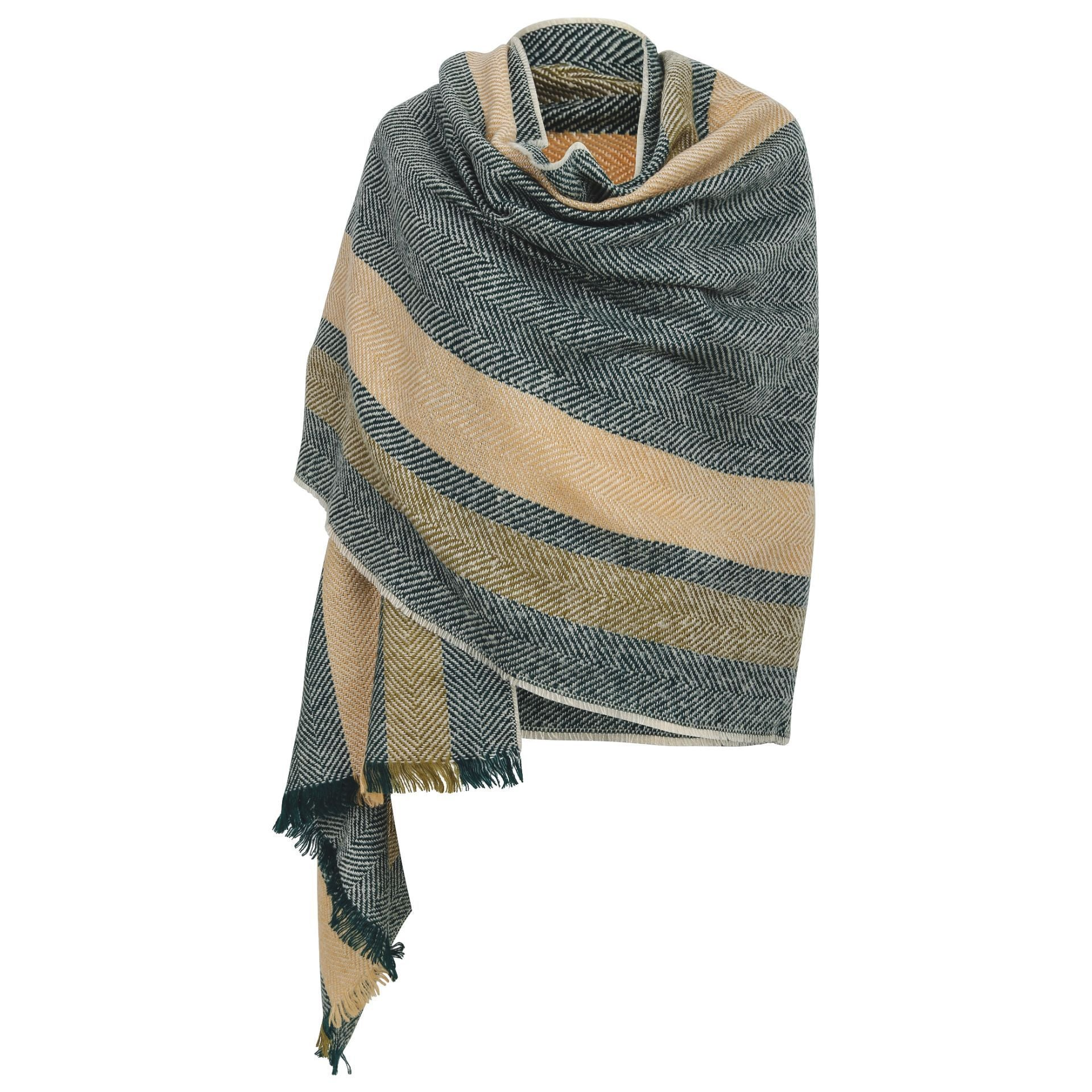 London Scarf - Grey with yellow