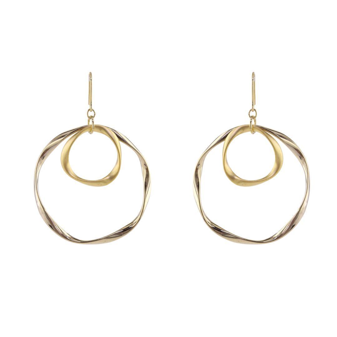 loveRocks Beaten Double Rings On Earwire Earrings
