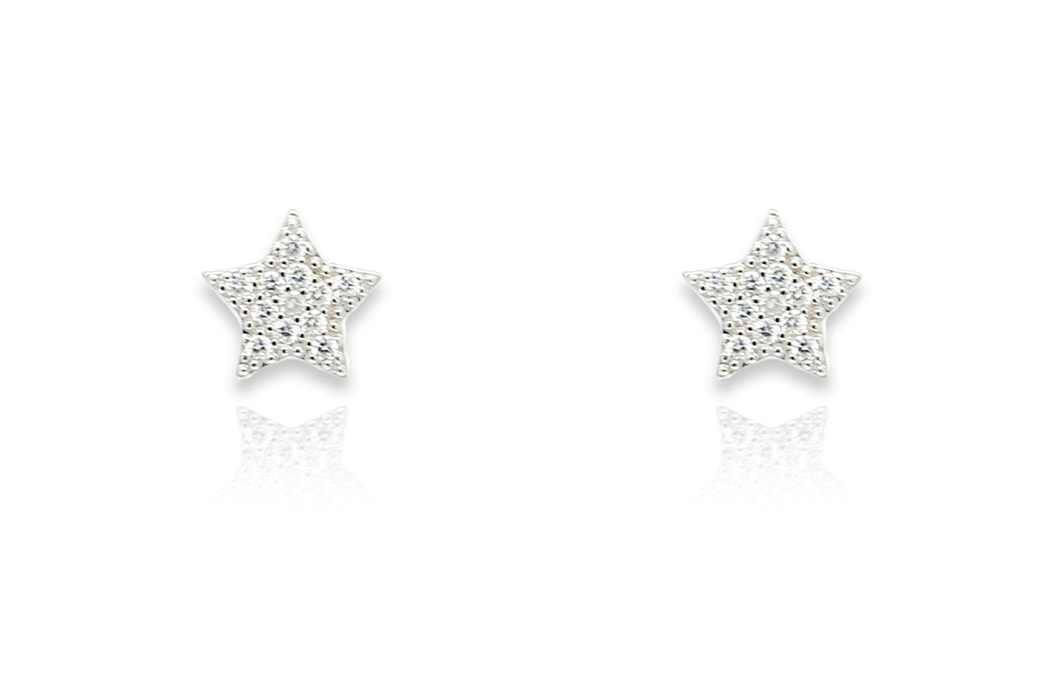 Chastain Silver CZ Star Stud Earrings