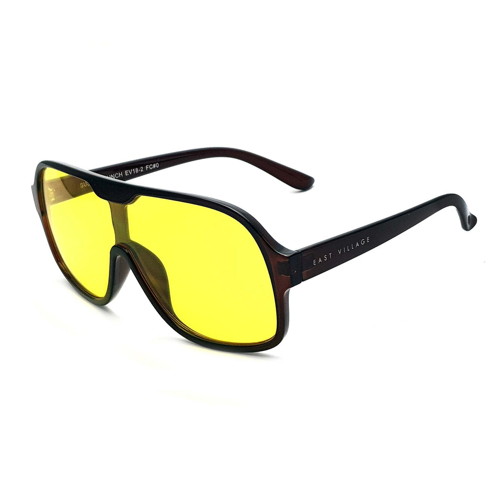East Village Suckerpunch Sunglasses Crystal Brown With Yellow Lens