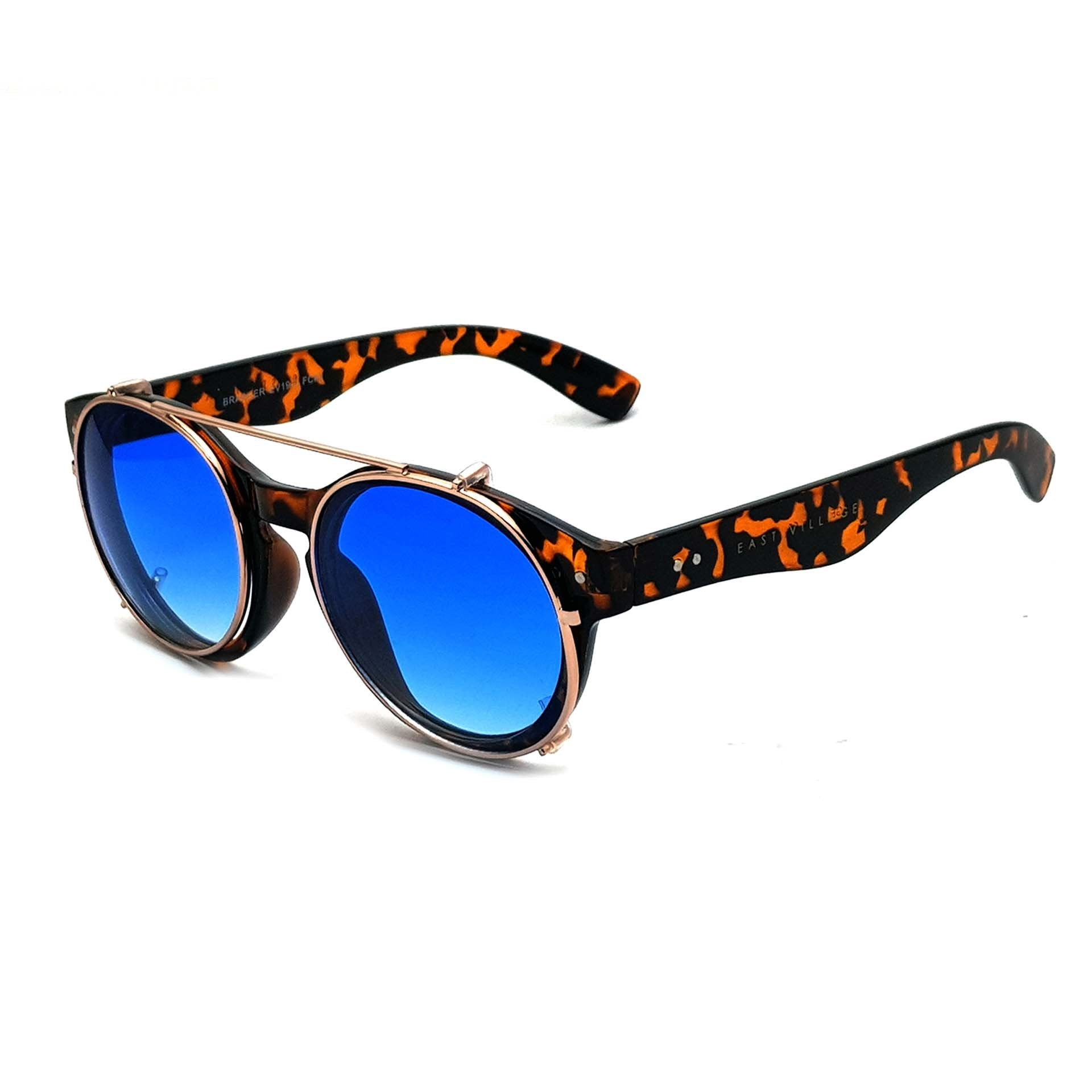 East Village Brawler Round Sunglasses Tortoiseshell And Metal With Blue Lens