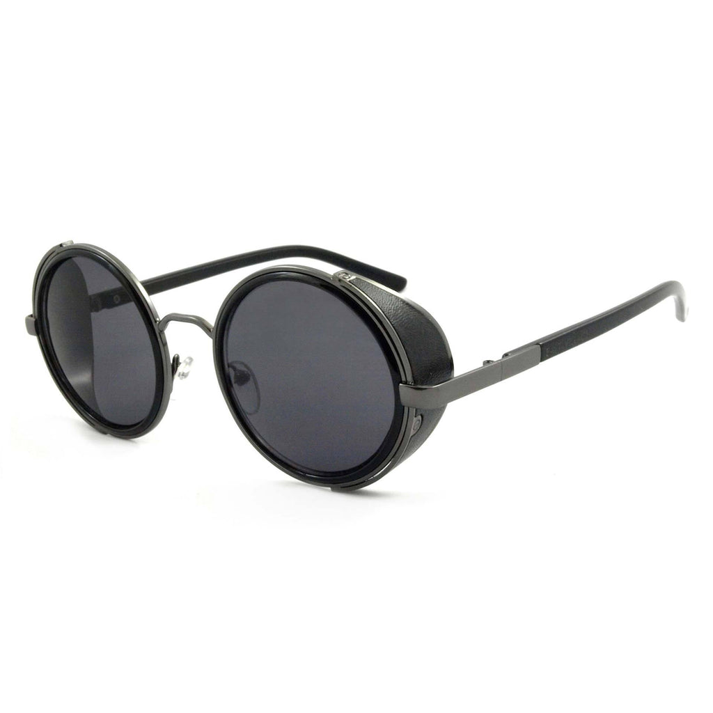 East Village Mens Freeman Round Sunglasses With Side Shield In Black