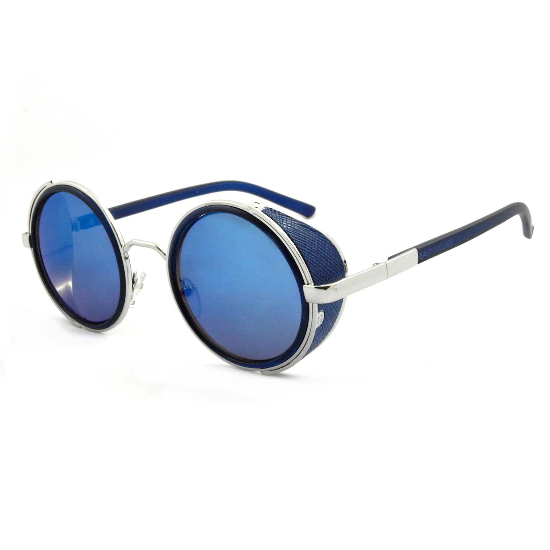 East Village Mens Freeman Round Sunglasses With Side Shield In Blue