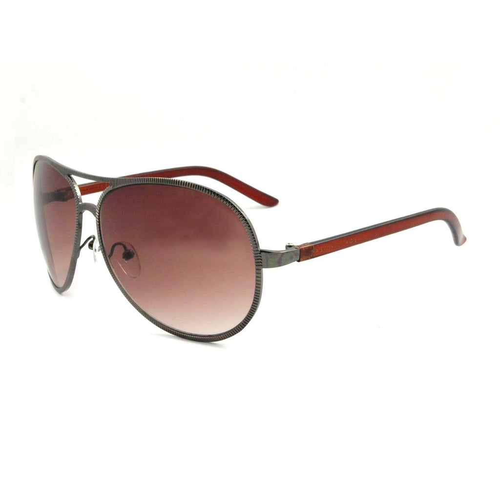 East Village Beveled Edge Jagger Aviator in Gunmetal & Crystal Brown