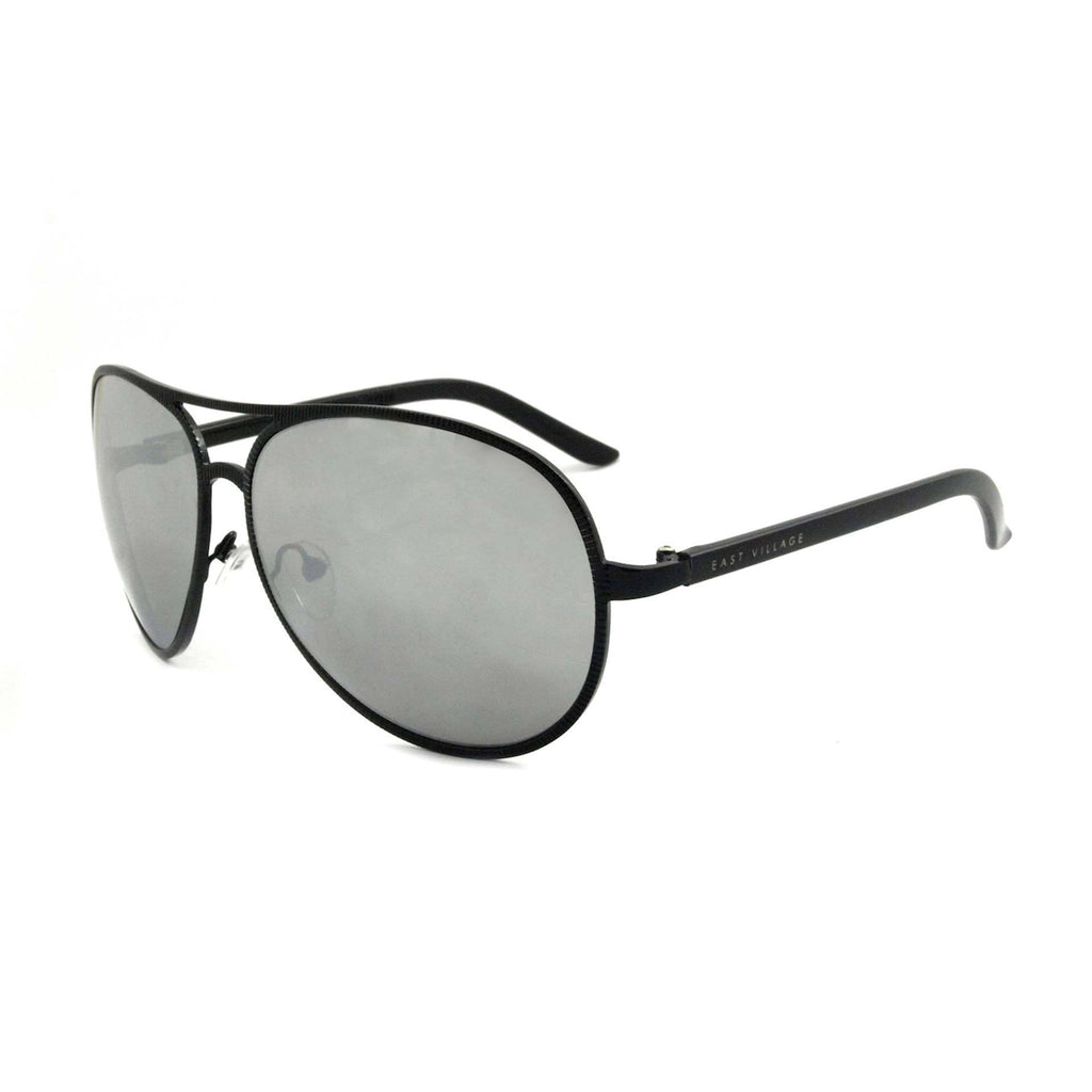 East Village Beveled Edge Jagger Aviator in Black
