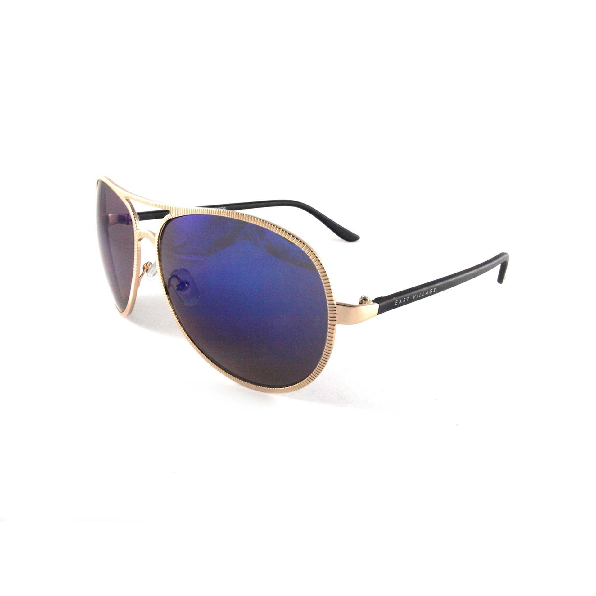 Beveled Edge 'Jagger' Aviator in Light Gold & Black