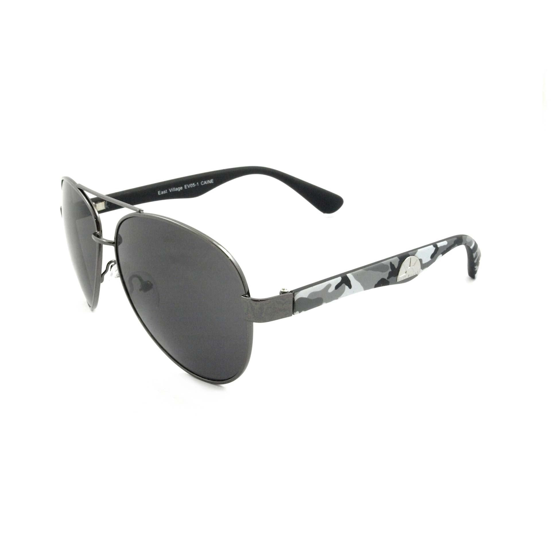 East Village Mens Caine Metal Frame Aviator Sunglasses With Grey Camouflage Temples