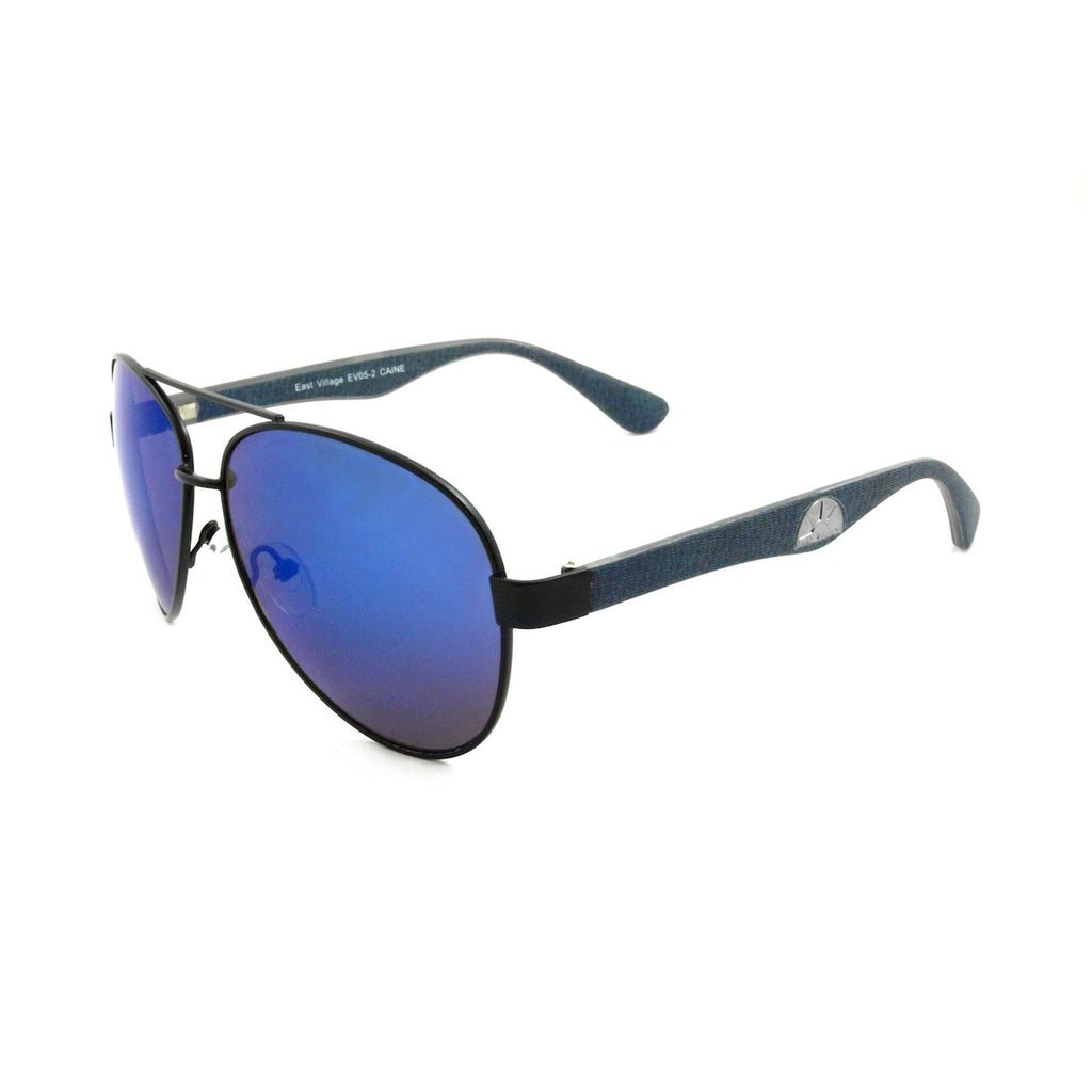 East Village Mens Caine Metal Frame Aviator Sunglasses With Blue Temples