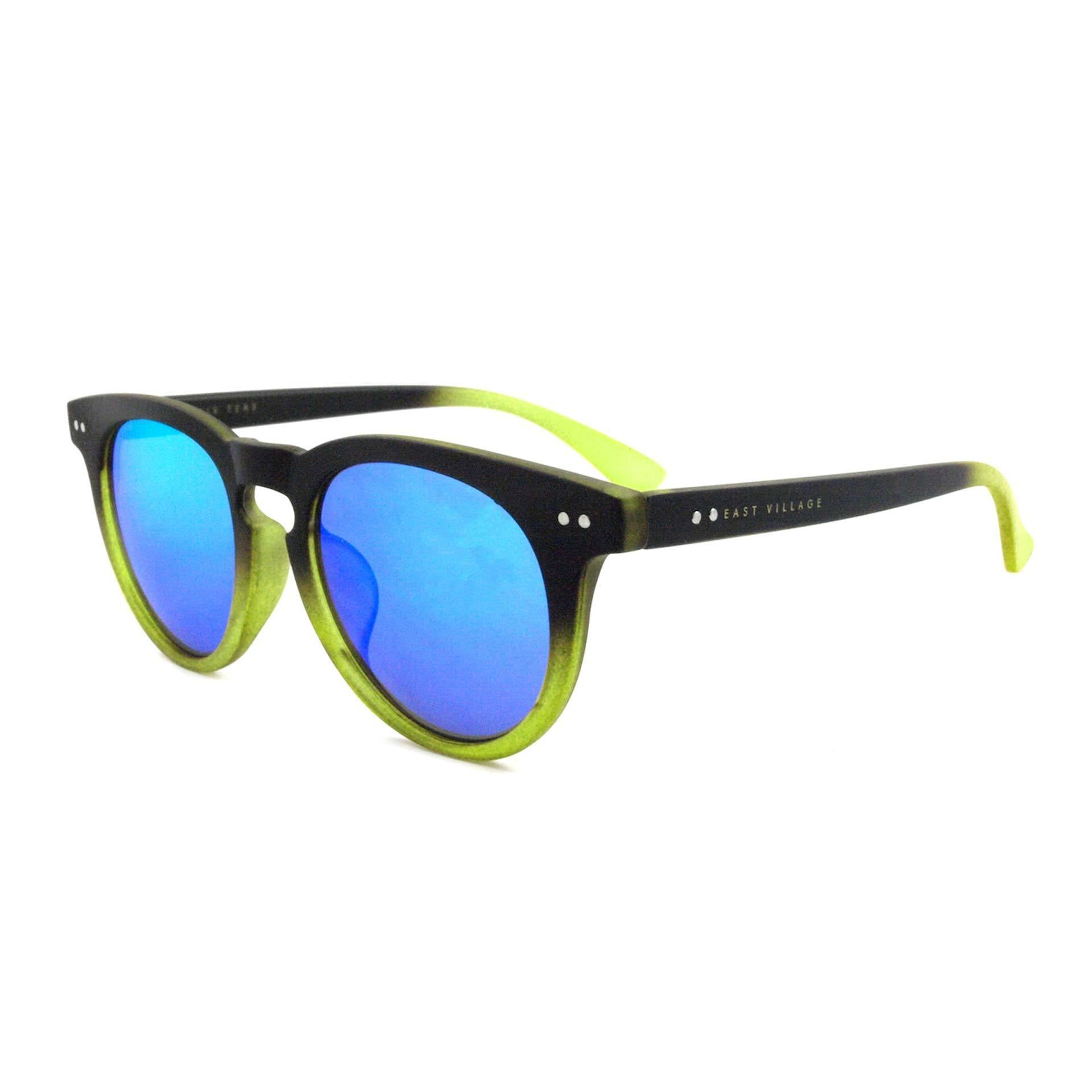 'Moon' Preppy Two-Tone Sunglasses In Black/Green