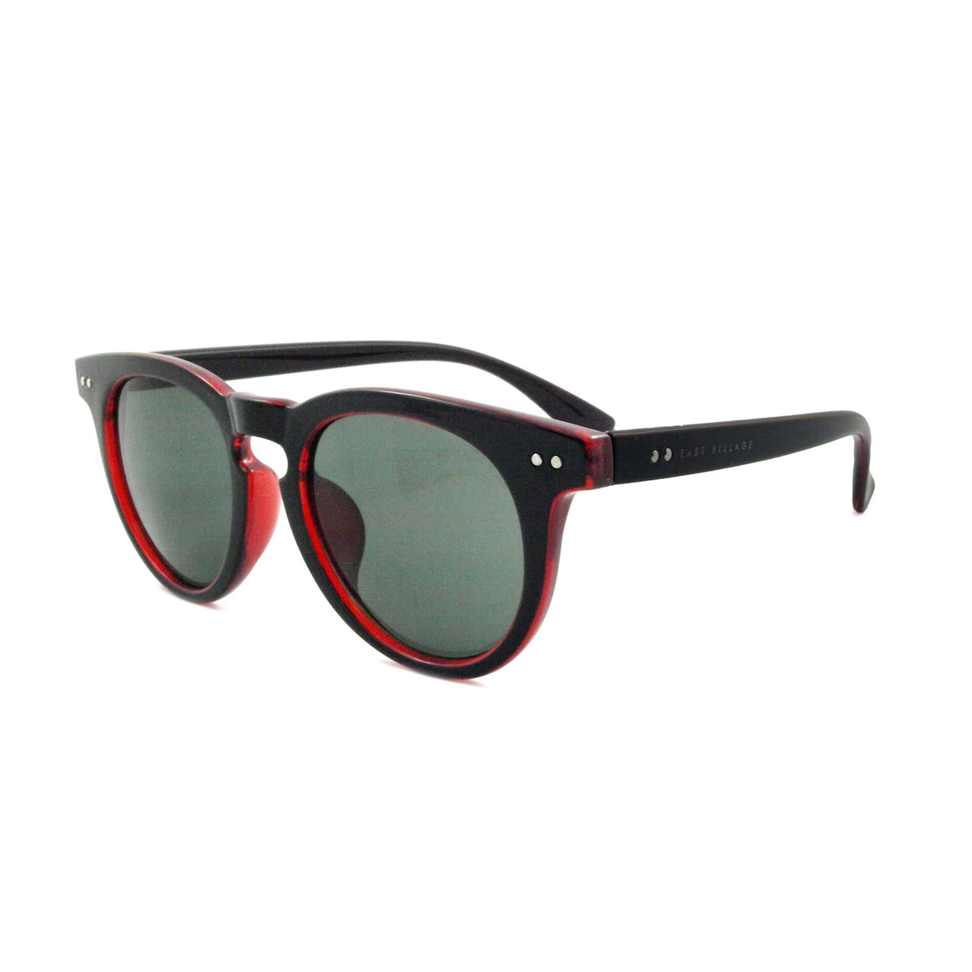 East Village Mens Moon Preppy Two-Tone Sunglasses In Black/Red