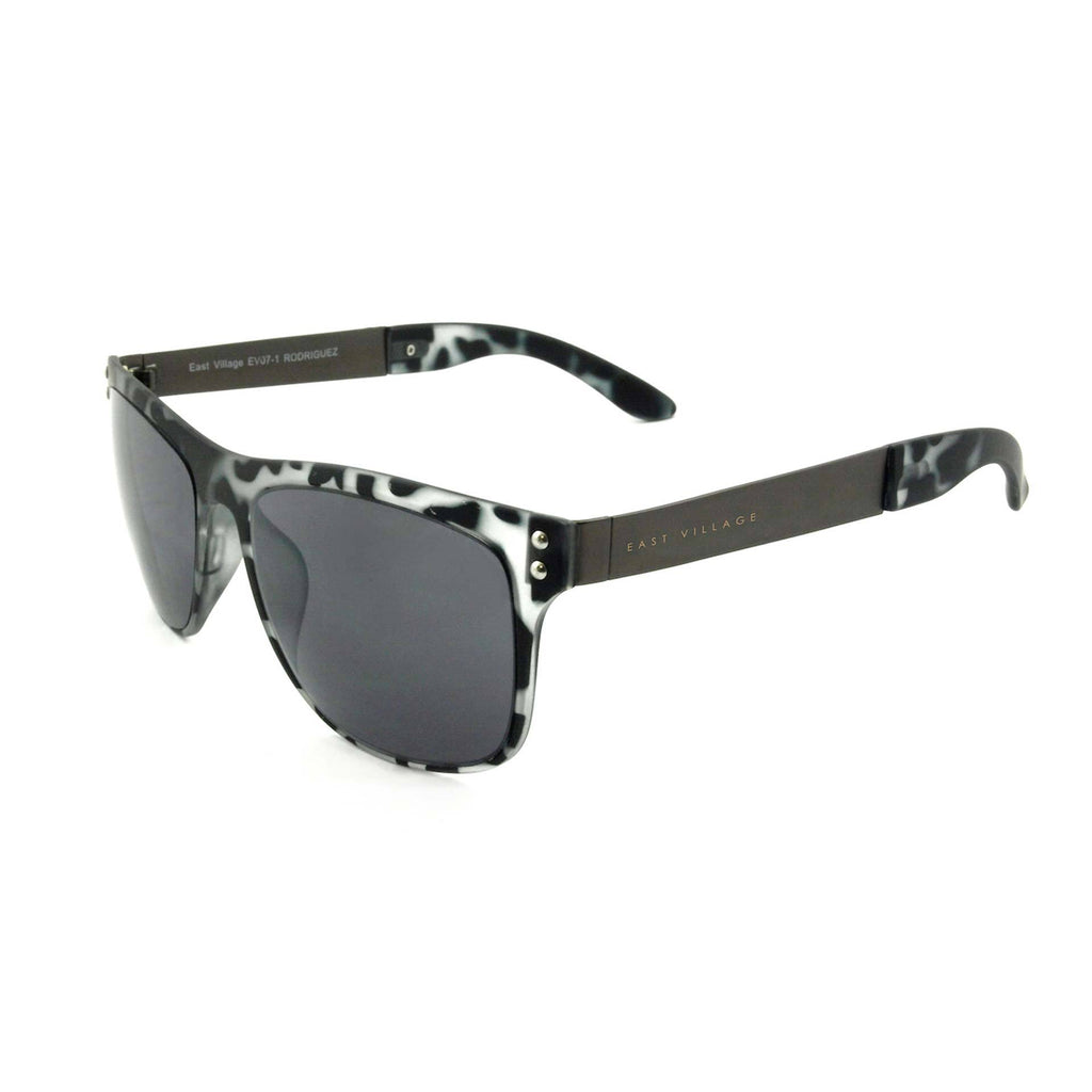 East Village Metal Rodriguez Wayfarer Shape Sunglasses With Black And White Print Frame And Tips