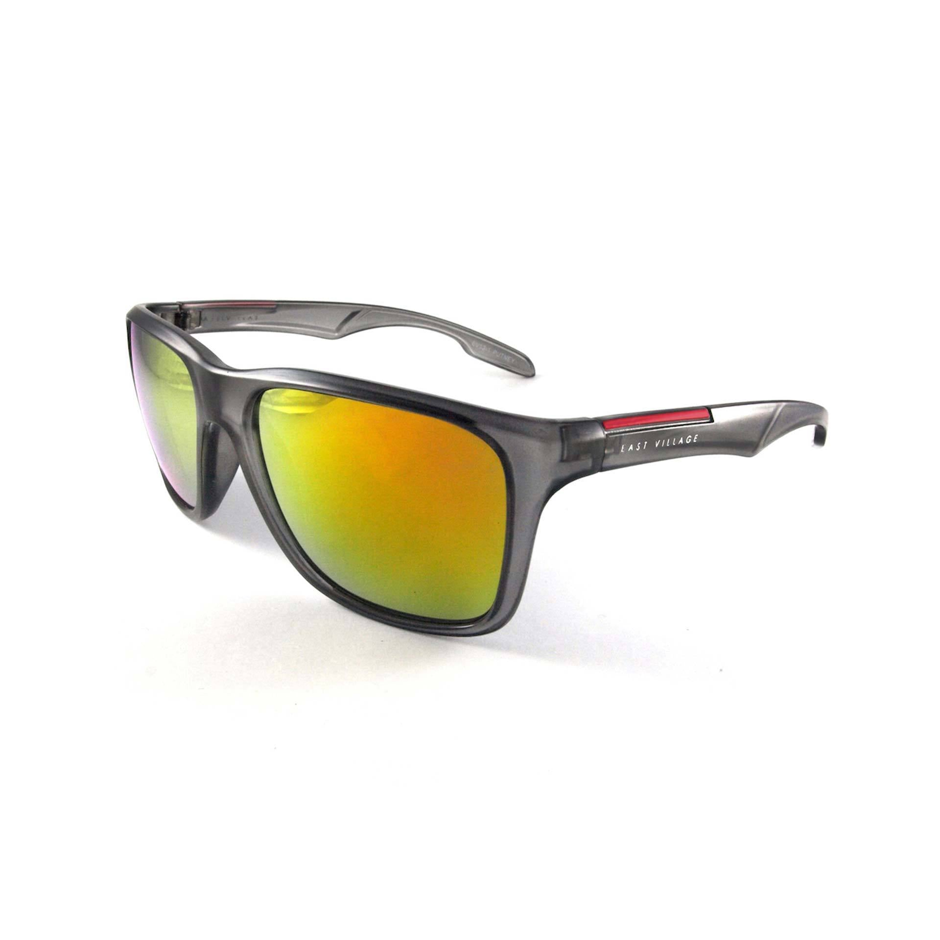 Sporty 'Putney' Square Grey Sunglasses with Revo Lens