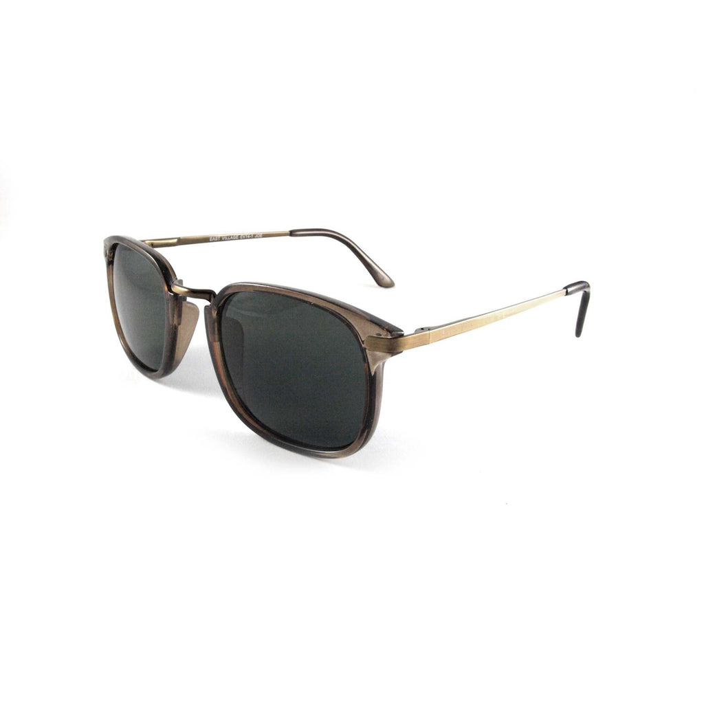 East Village Square Joe Metal Bridge Crystal Brown Sunglasses