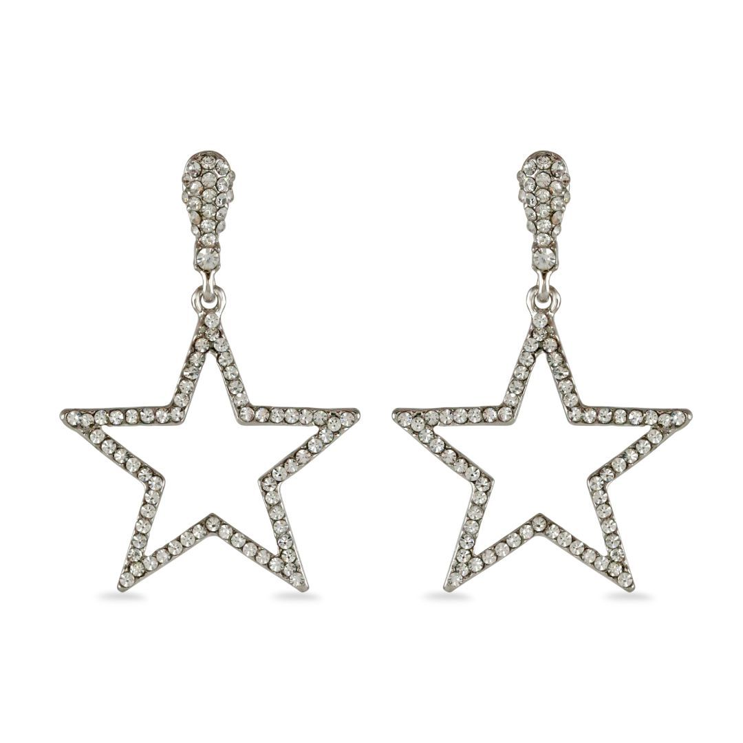 loveRocks Crystal Star Outline Earrings