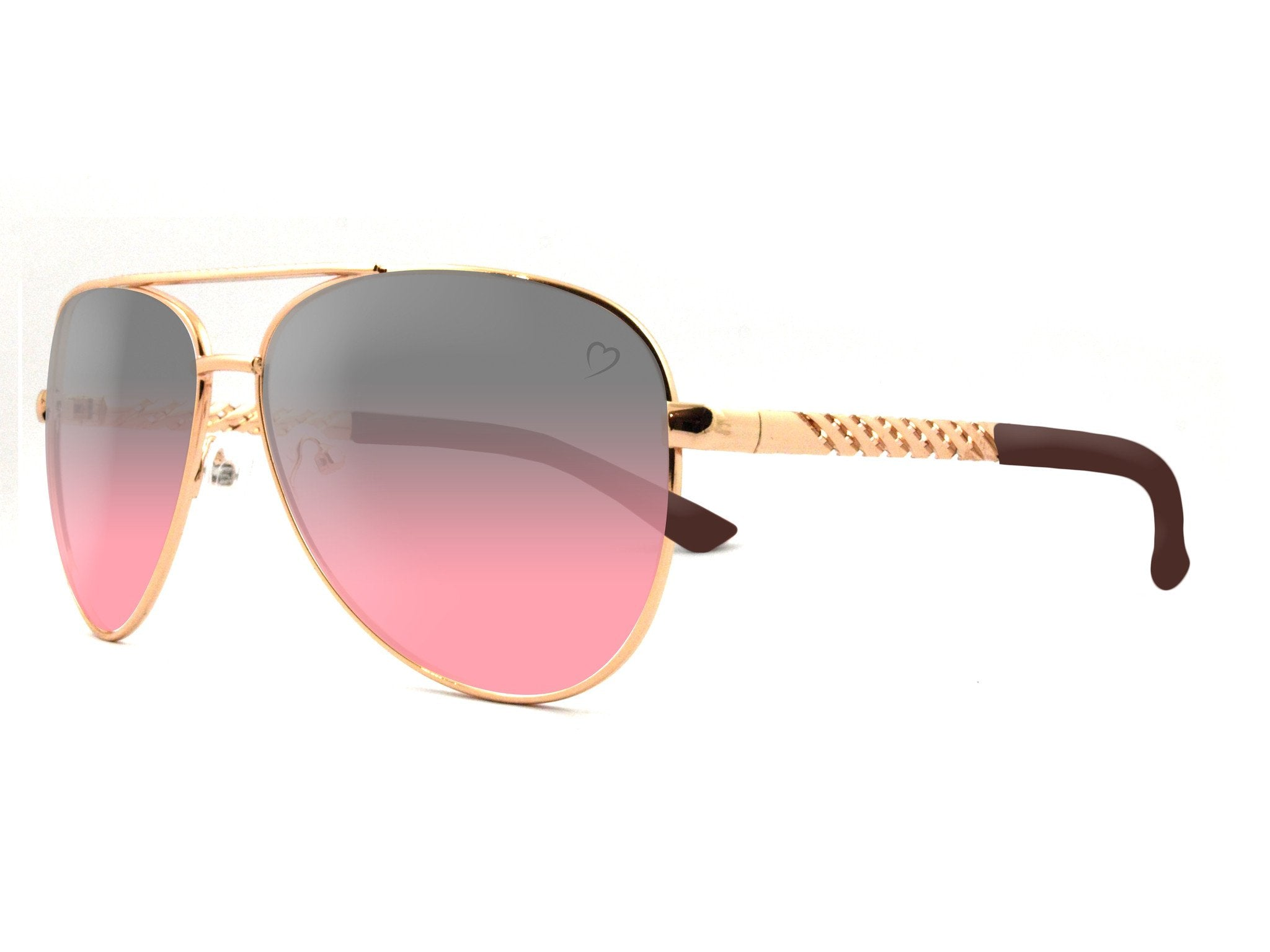 Metal 'Dominica' Aviator With Embossed Temple in Gold