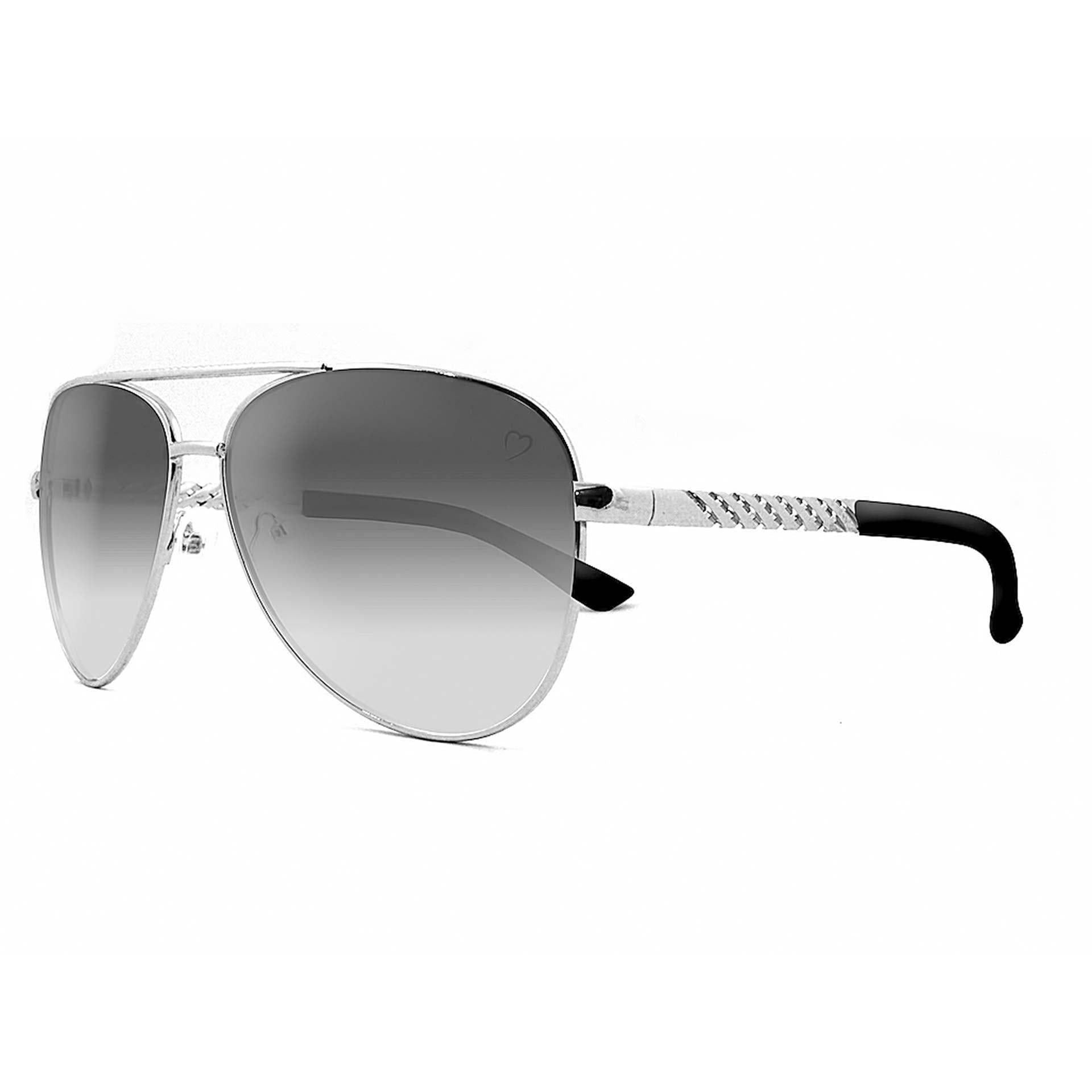 Metal 'Dominica' Aviator With Embossed Temple in Silver