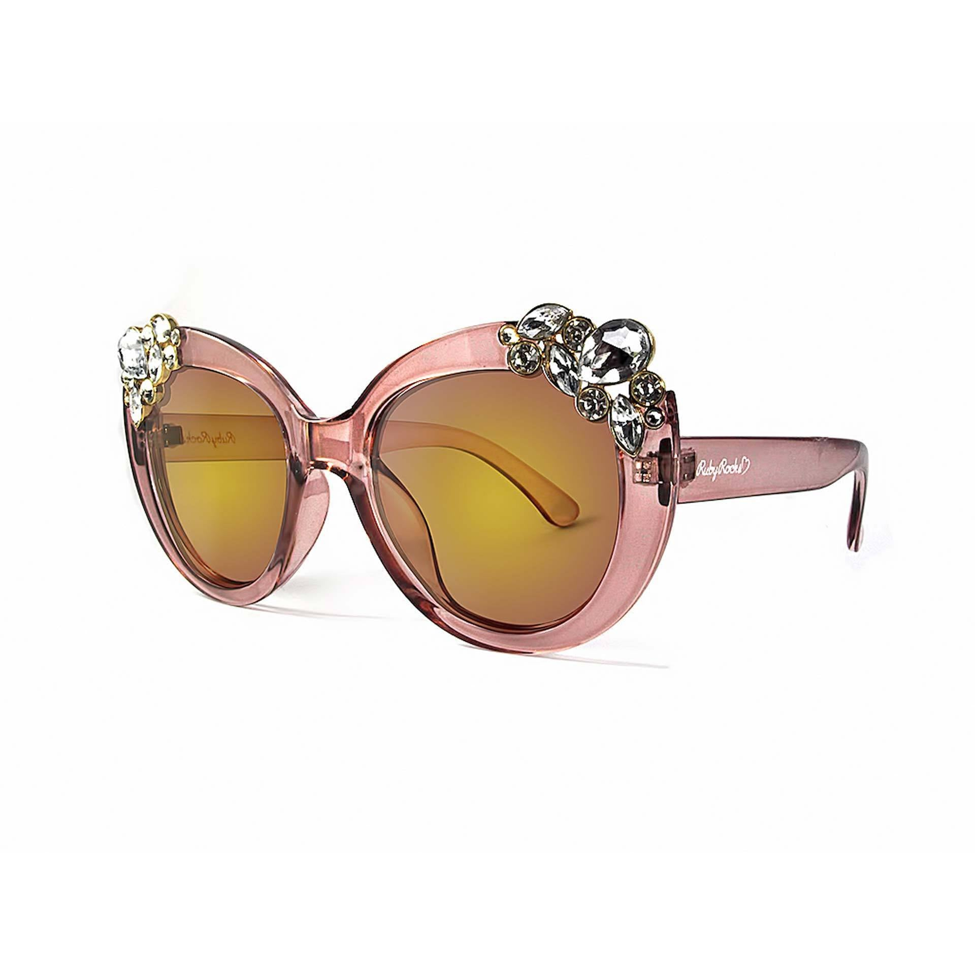 Ladies 'Dubai' Gem Detail Sunglasses In Crystal Pink