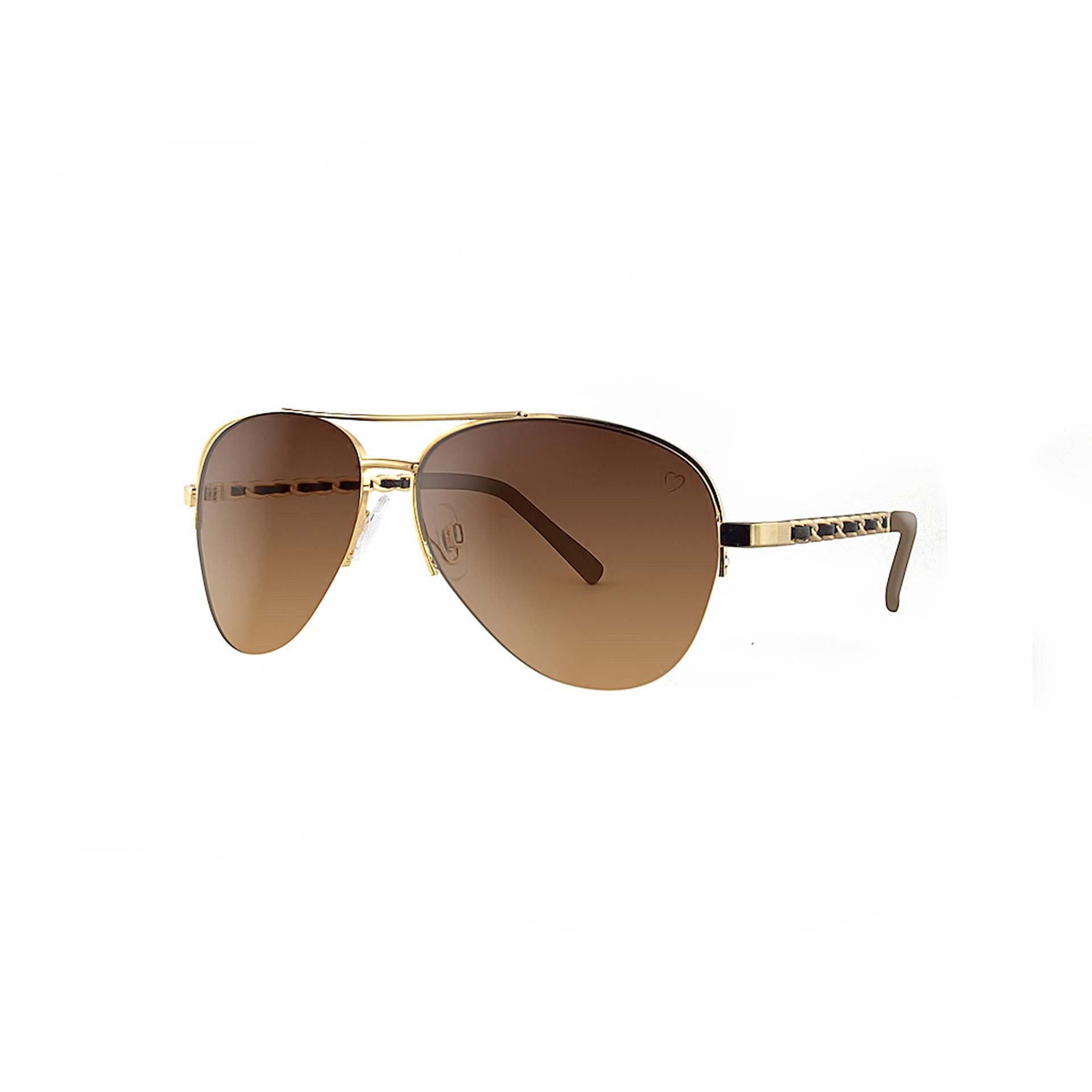 Metal 'New York' Aviator With Fabric Braid Detail Temple in Gold