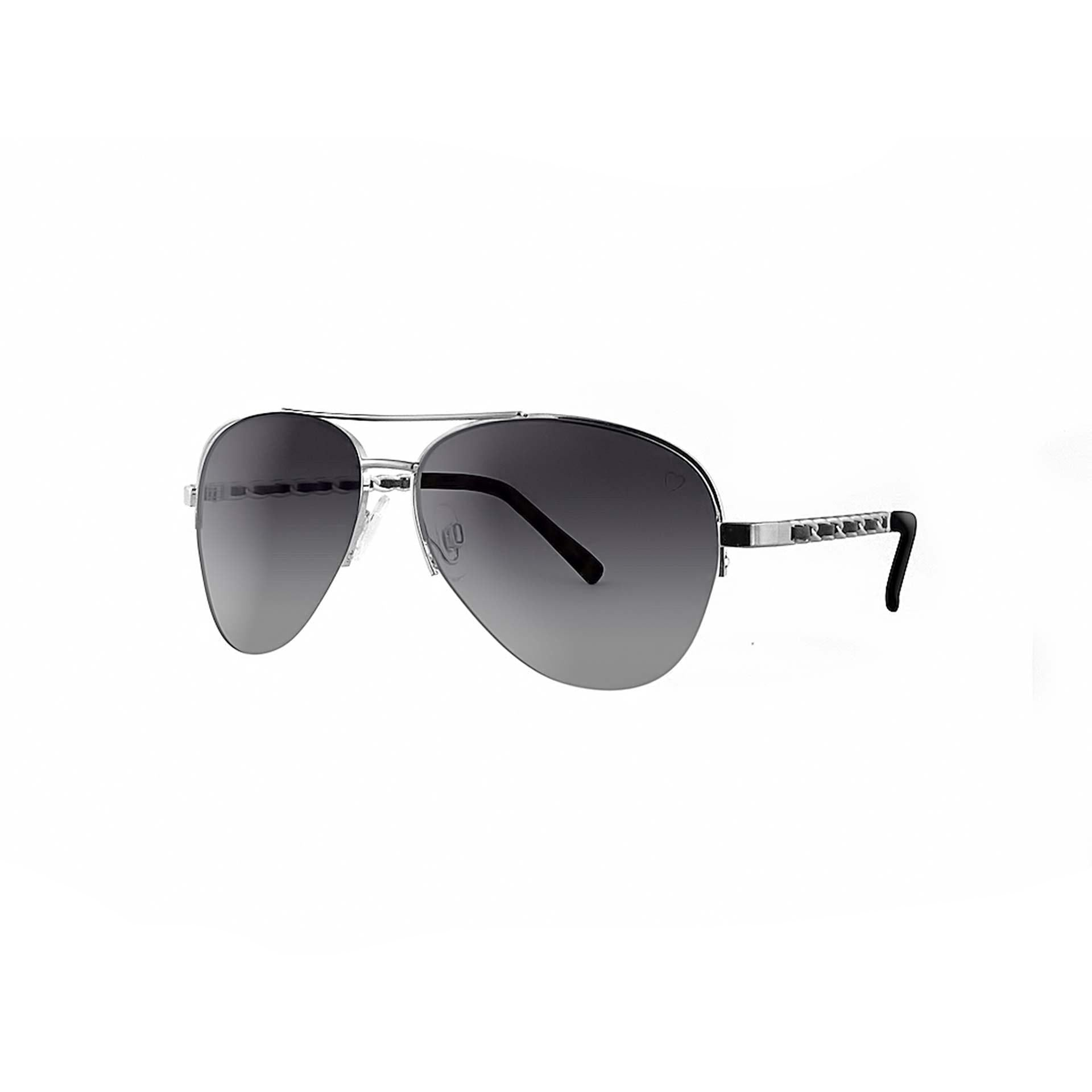 Metal 'New York' Aviator With Fabric Braid Detail Temple in Silver